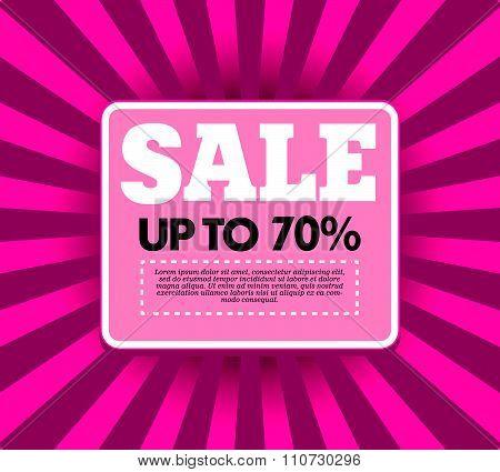 Vector design for sale banner template. Sale label desin sample. Sale background with cenrered strip