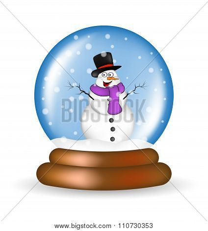 Christmas Snowglobe With Snowman Cartoon Design, Icon, Symbol For Card. Winter Transparent Glass Bal