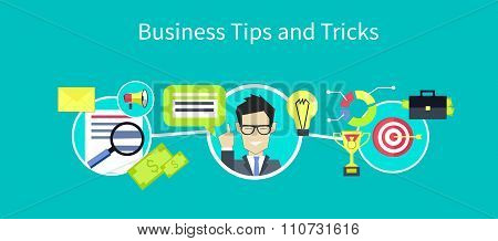 Business tips and tricks design. Tips icon, helpful tips, advice and hint, idea and tools, assistance support, suggestion and solution, help and guidance, consultation service illustration poster