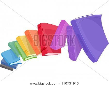 Illustration of a Pile of Colorful Books Tumbling Down