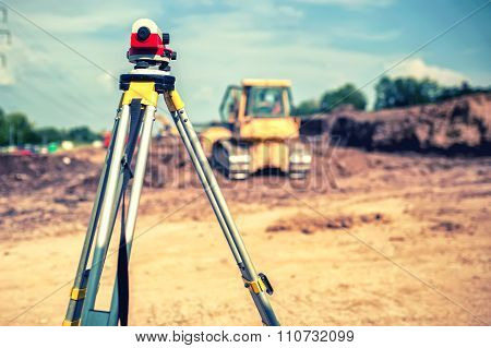 Surveying Measuring Equipment Level Theodolite On Tripod At Building site