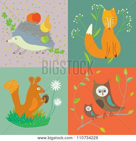 Forest Animals And Birds Funny Set For Kids