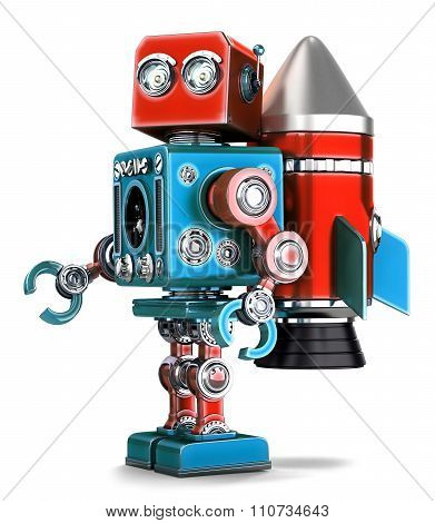 Retro Robot With Rocket Jetpack. Isolated. Contains Clipping Path