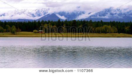 Cabin By Mountain Lake
