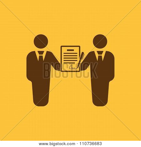 The contract icon. Agreement and signature, pact, partnership, negotiation symbol. Flat