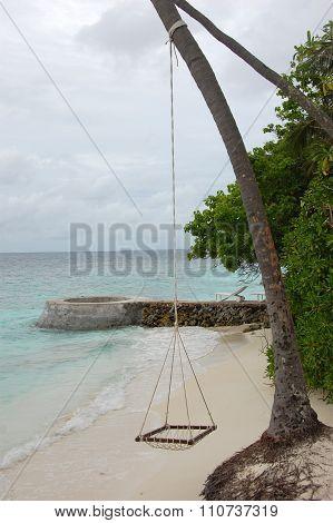 Hammock On Rope At Ocean Beach