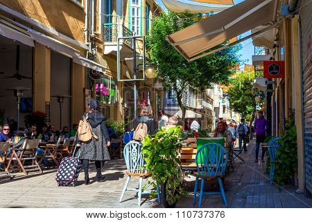 Nicosia, Cyprus - December 3: People Enjoying A Summer In Cafes At Ledra Street In Central Nicosia,