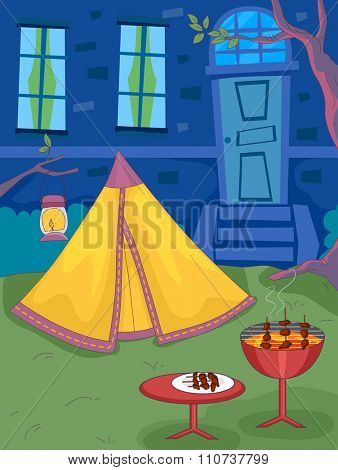 Illustration of a Backyard with a Barbecue Grill Standing Next to a Tent poster