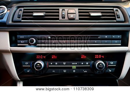 Modern Car Interior With  Close-up Of Air Conditioning