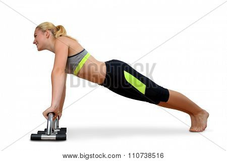 Girl exercising workout fitness aerobic. Pectoral muscles exercises.