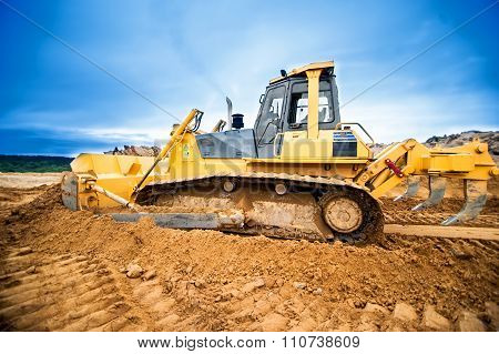 Excavator Working And Moving Earth In Construction Site, Highway