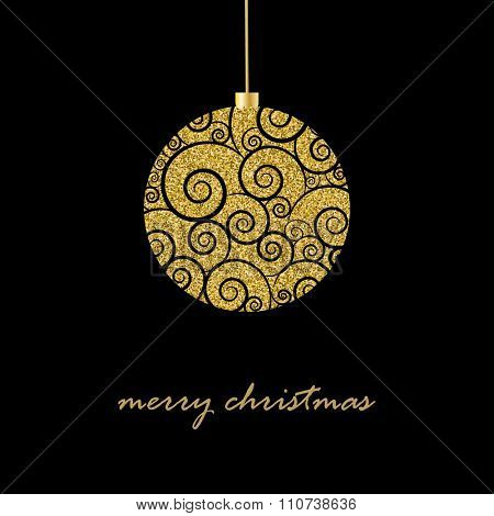Black  Christmas background with glitter gold Christmas ball and text Merry Christmas,   vector  illustration.