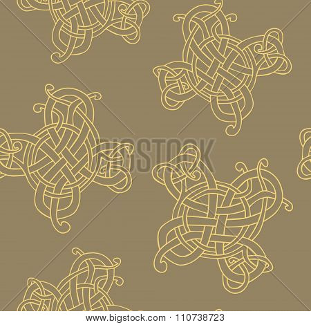 Seamless pattern with Celtic art and ethnic ornaments