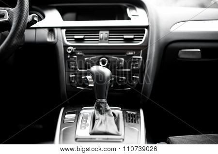 Interior Details And Elements Of Modern Car, Close-up Of Automatic gearshift