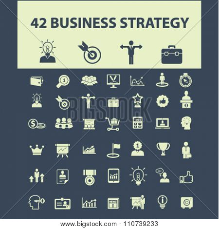 business strategy  icons, signs vector concept set for infographics, mobile, website, application