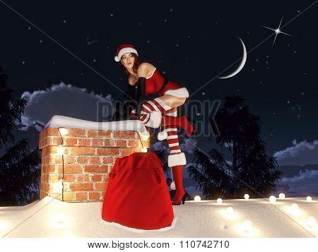 Santa woman. 3d rendering