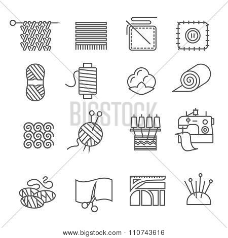 Textile Industry Icons Set