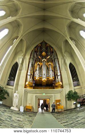 Pipe organ inside Hallgrimskirkja, Reykjavik cathedral