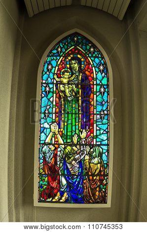 Stained glass detail inside Hallgrimskirkja, Reykjavik cathedral
