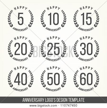 Five, ten, twenty, thirty, forty, fifty years jubilee design elements collection.