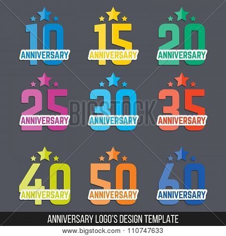 Collection of anniversary logo's