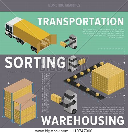 Warehouse process. Warehouse logistic. Warehouse. Warehouse isometric illustration. Warehouse worker. Warehouse infographics. Warehouse truck. Warehouse exterior. Delivery truck. Warehouse service.