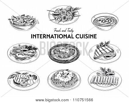 Vector hand drawn sketch international cuisine set.