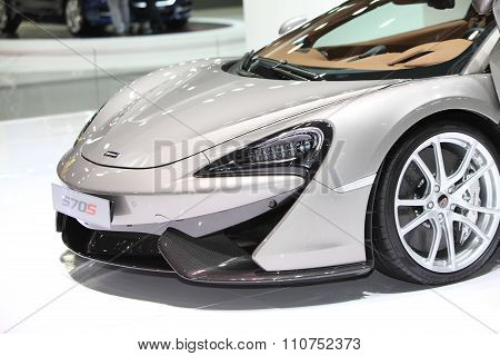 Bangkok - December 1:zoom Front Of Mclaren 570S Car On Display At The Motor Expo 2015 On December 1,
