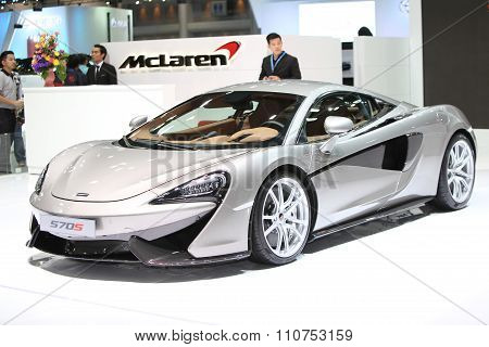 Bangkok - December 1: Mclaren 570S Car On Display At The Motor Expo 2015 On December 1, 2015 In Bang