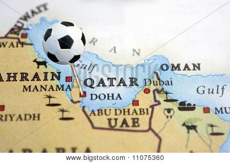 Soccer pin on Qatar