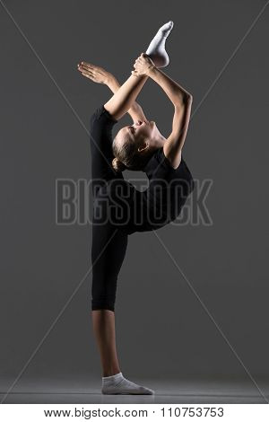 Gymnast Girl Doing Standing Backbend