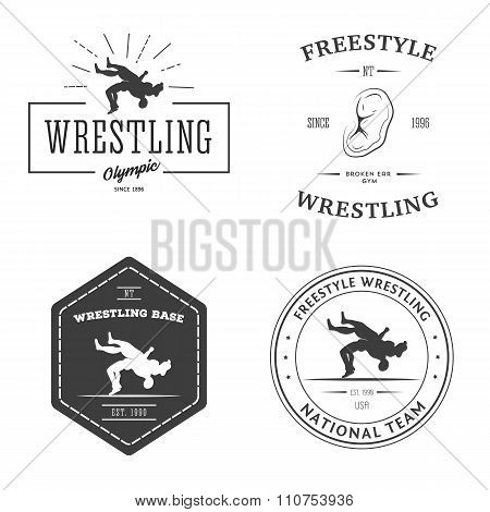 Set of sport signs. Wrestling theme.