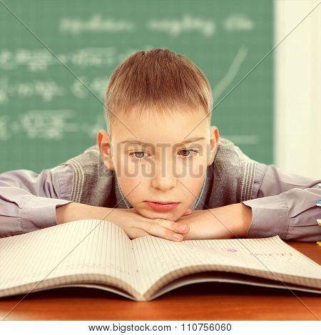 Sad And Bored Schoolboy