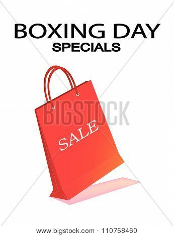 Red Paper Shopping Bag For Boxing Day Sale