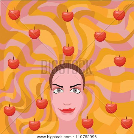 Ginger Woman With Apples In Hair