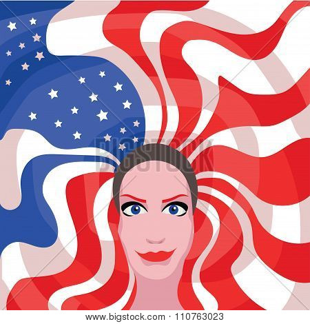Woman With American Flag Hair