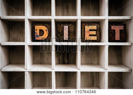 Diet Concept Wooden Letterpress Type In Draw