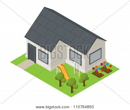 Vector isometric house building icon