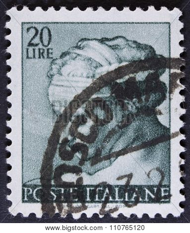 Woman on a postage stamp