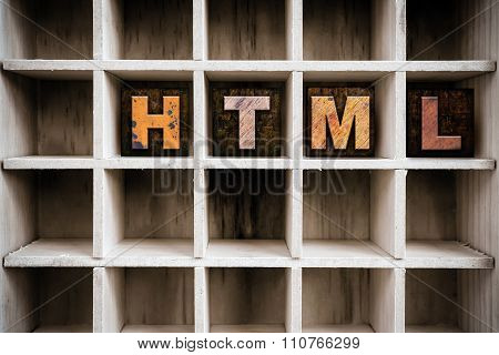 Html Concept Wooden Letterpress Type In Draw