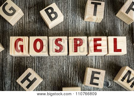 Wooden Blocks with the text: Gospel