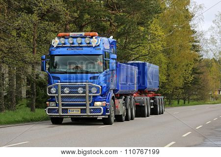 Blue Scania Combination Vehicle Transports Limestone