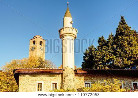 View Of The Muslim Mosque And The Clock Tower In Ulcinj, Montenegro