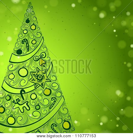 Green Christmas background with Hand Drawn Christmas Tree Placed On The Left Side