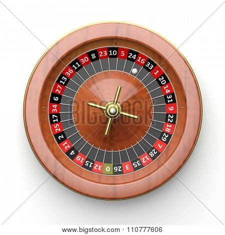 Roulette wheel on white background.From above
