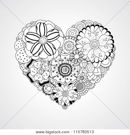 Stock Vector Abstract Isolated Heart With Doodle Flower. Card, Poster, Banner Template