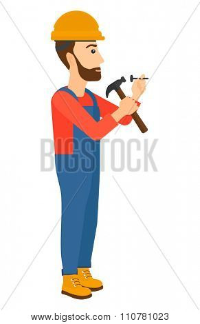 A hipster constructor with the beard hitting a nail with a hummer vector flat design illustration isolated on white background. Vertical layout.