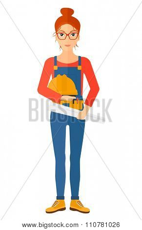 A female engineer holding a hard hat and a twisted blueprint in hands vector flat design illustration isolated on white background. Vertical layout.