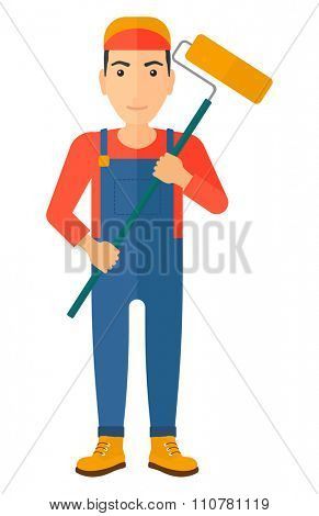 A painter standing with a paint roller vector flat design illustration isolated on white background. Vertical layout.