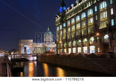 Kazan Cathedral Or Kazanskiy Kafedralniy Sobor In St. Petersburg By Night